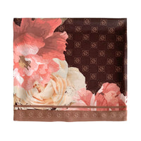 brown-floral, alt: brown floral square scarf/ bandana with jouer logo