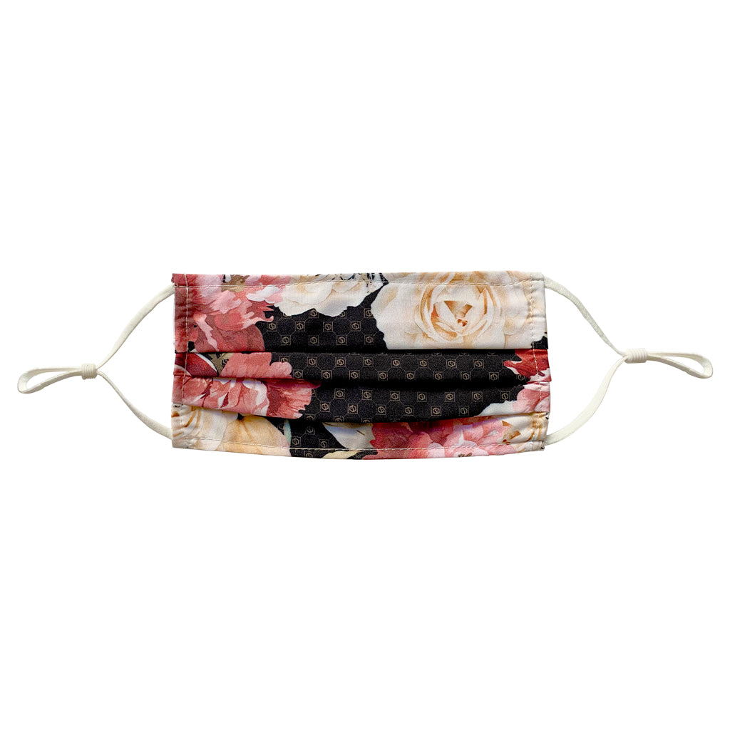 brown floral face mask with adjustable straps made with 100% polyester