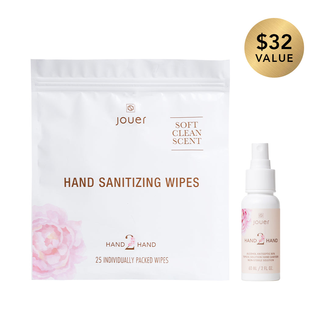 Spritz & Wipe Duo includes hand sanitizing wipes and hand sanitizer spray.