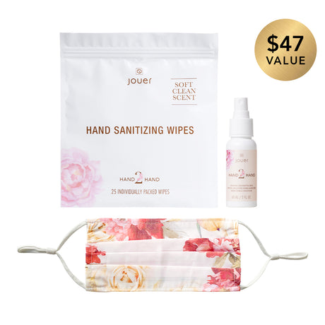 white-floral, alt: New Normal Trio includes hand sanitizing wipes (25 individually packed wipes), hand sanitizer spray (2 fl oz.), and a white floral face mask with adjustable straps. Made with 100% polyester.