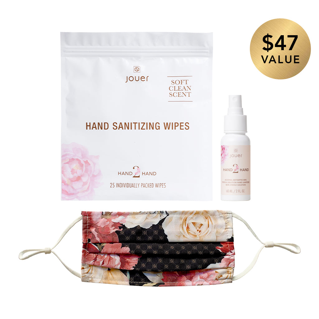 New Normal Trio includes hand sanitizing wipes (25 individually packed wipes), hand sanitizer spray (2 fl oz.), and a brown floral face mask with adjustable straps. Made with 100% polyester.