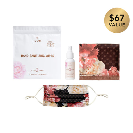 alt: Prepared & protected set includes sanitizing wipes (25 individually packed), hand sanitizer, floral scarf, and floral mask.