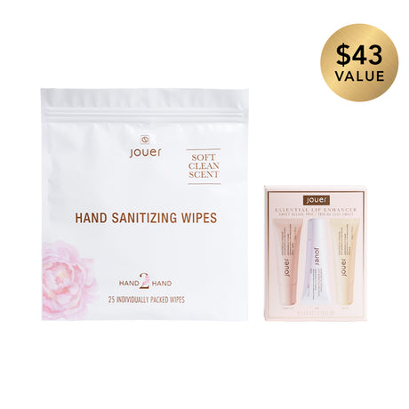 alt: Spritz & Wipe Duo includes hand sanitizing wipes and the essential lip enhancer sweet deluxe trio.