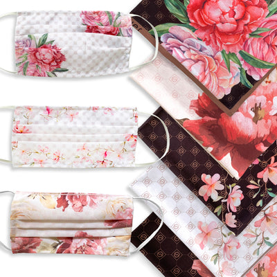Assorted floral designs . Each bundle comes with 1 fabric face mask and 1 scarf