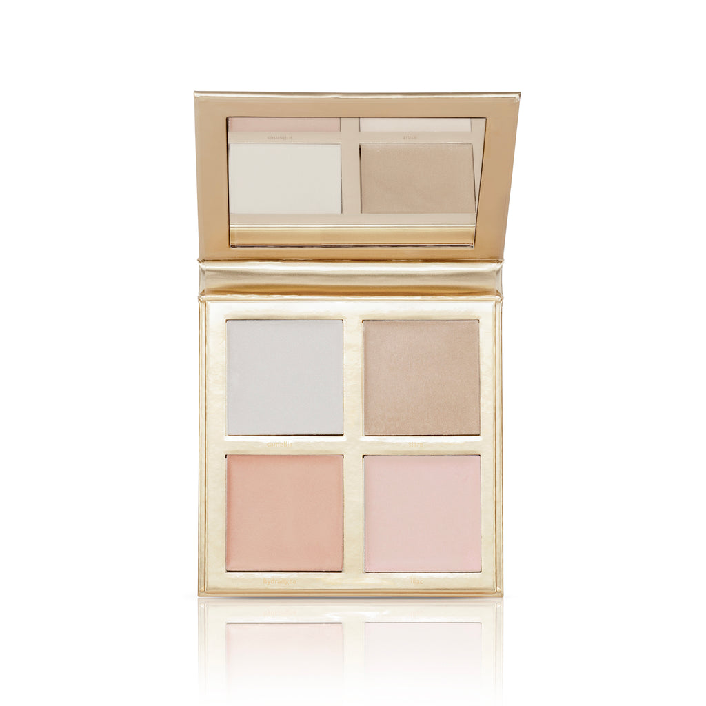 luminous highlighter palette includes 4 shades to achieve a lit from within glow