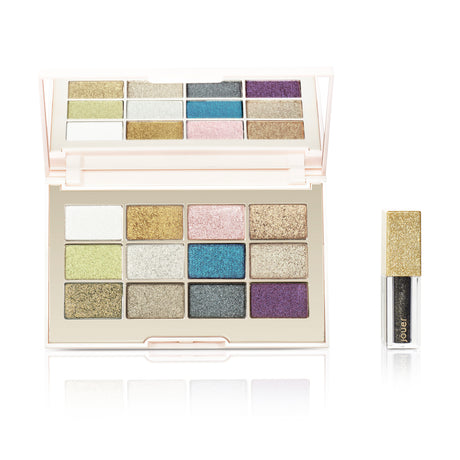 alt: ultra foil eyeshadow palette includes 12 shimmering eyeshadows and a free eye topper