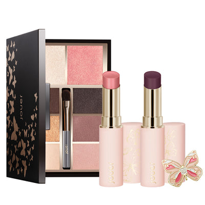 metamorphosis collection bundle includes face & eye palette, 2 new shine balm shades, and a free butterfly pin