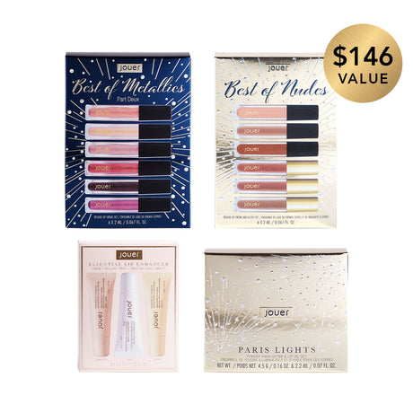 alt: midnight in paris holiday collection includes best of metallics deluxe lip crème set, best of nudes deluxe lip creme & gloss set, paris lights citrine highlighter & deluxe lip oil set, and lip enhancer sweet deluxe trio set. $146 value, sold for $104.