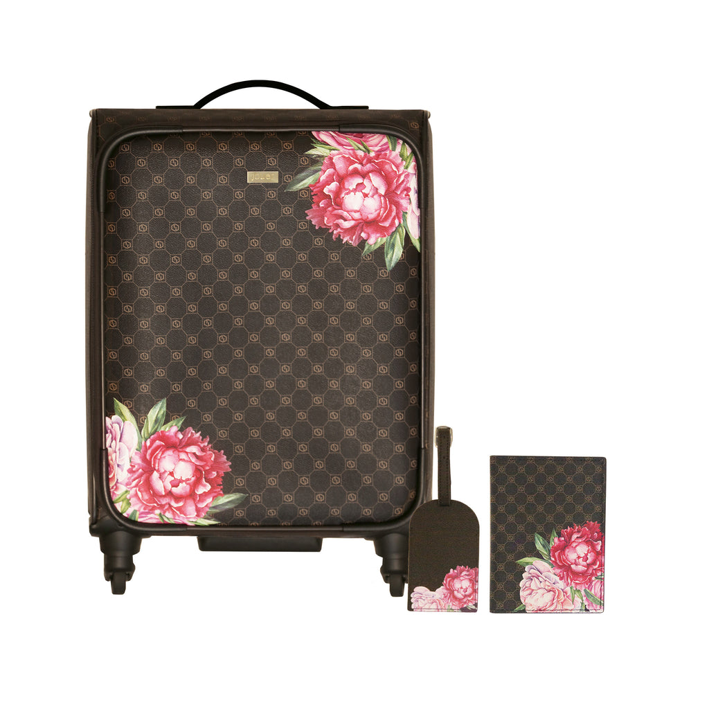 3 piece luggage set with jouer logo and floral print. includes  wheeled carry-on, luggage tag, passport cover