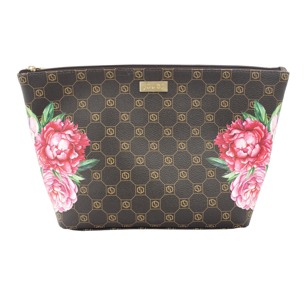 jouer logo and floral print cosmetic bag (medium) with zipper closure