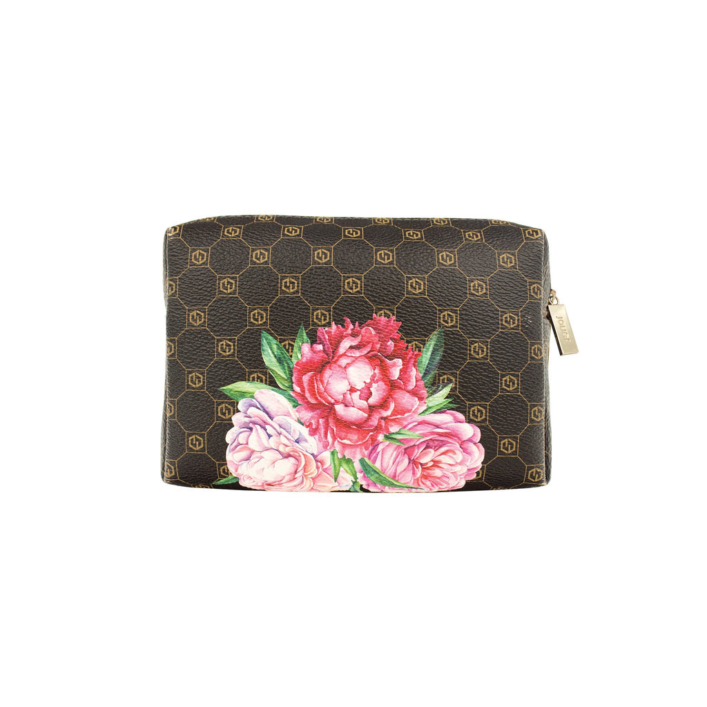 jouer logo and floral print cosmetic bag (small) with zipper closure