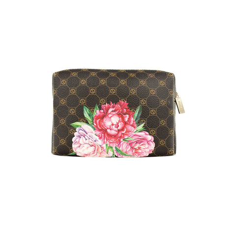 alt: jouer logo and floral print cosmetic bag (small) with zipper closure