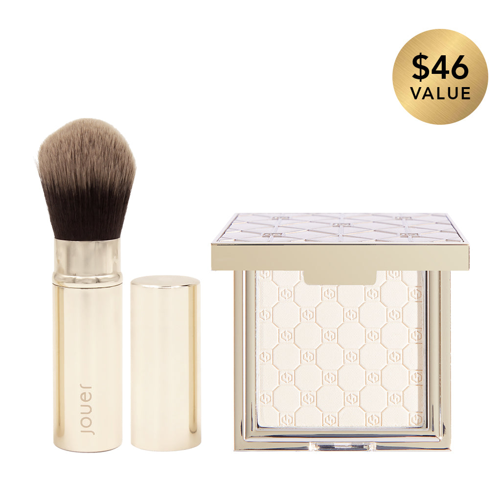 soft focus hydrate set powder in translucent and retractable brush set, a $46 value for $39.