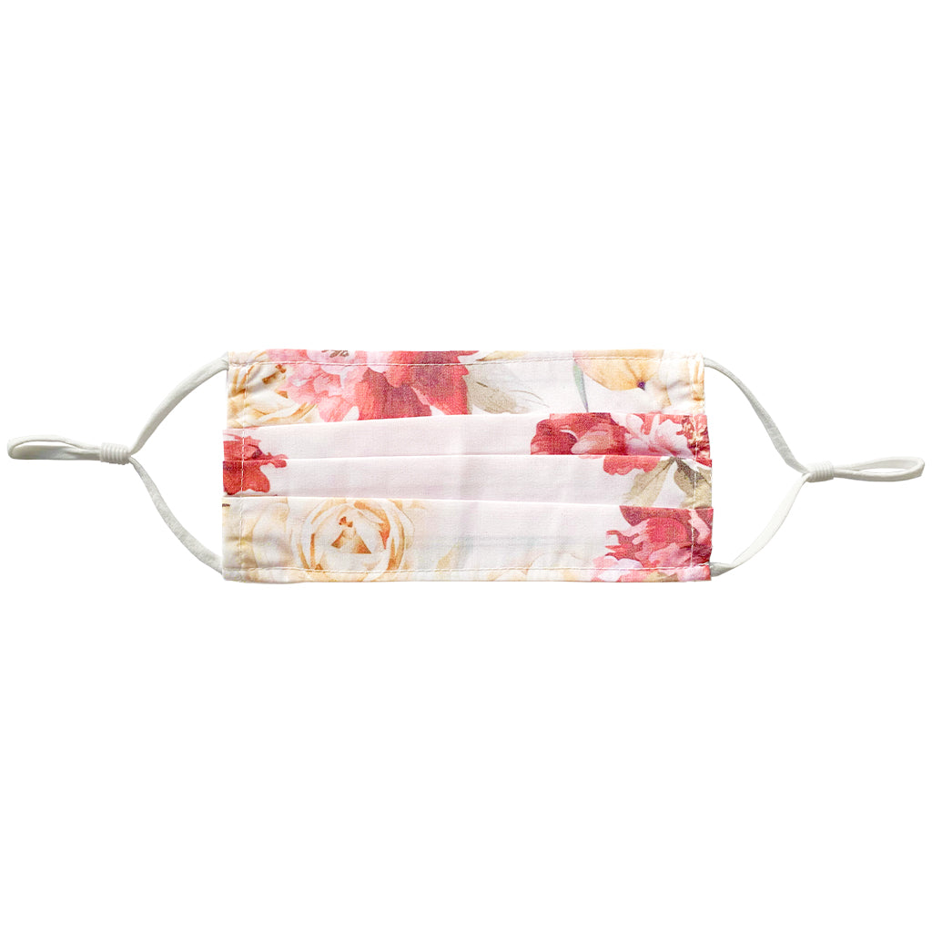 white floral face mask with adjustable straps. Made with 100% polyester.