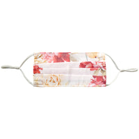 white-floral, alt: white floral face mask with adjustable straps. Made with 100% polyester.
