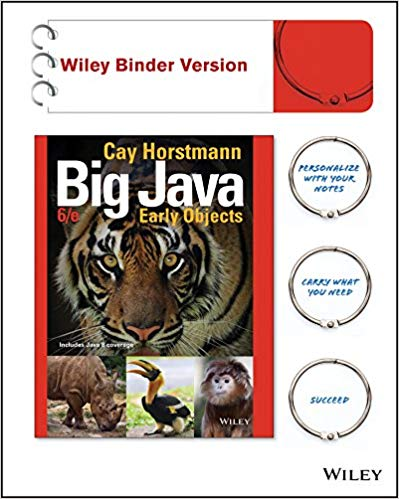 Big Java,  Early Objects 6th Edition by Cay S. Horstmann PDF