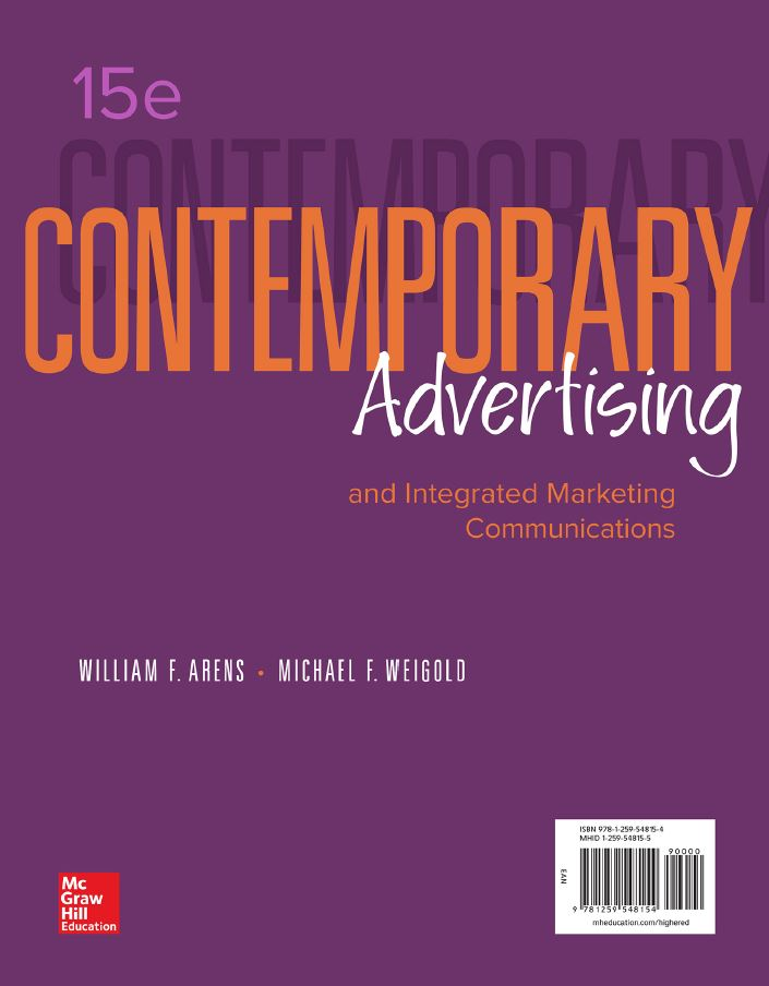 Contemporary Advertising and Integrated Marketing Communications 15th edition by William F Arens PDF