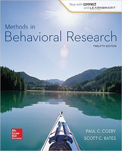 Methods in Behavioral Research 12th Edition by Paul Cozby PDF