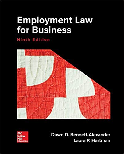 Employment Law for Business 9th Edition by Dawn D. Bennett-Alexander PDF