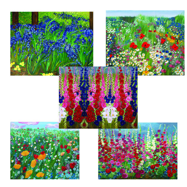Collection of 5 Floral Greeting Cards