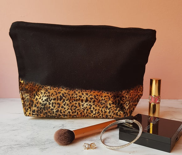 Leopard print make up bag - AH Boutique