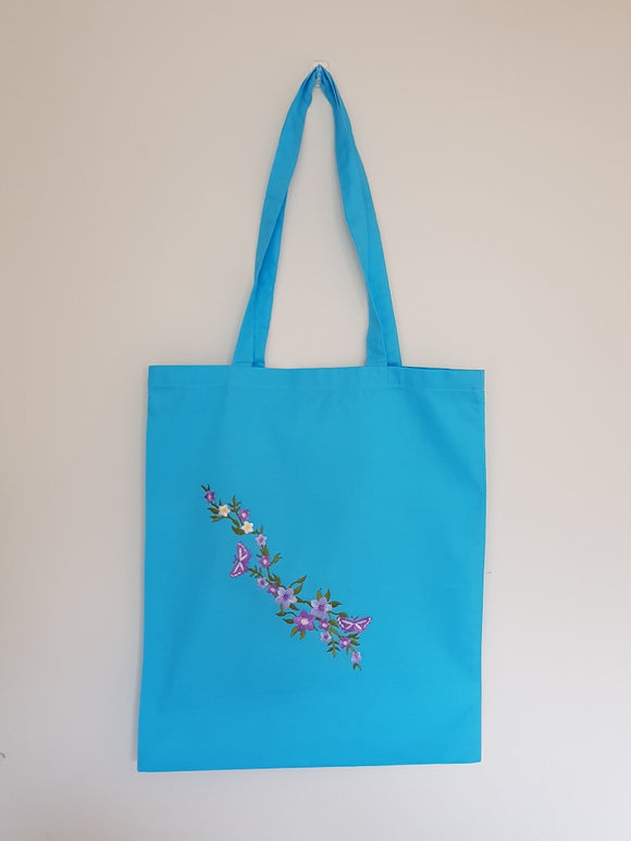 Flower patch tote - blue