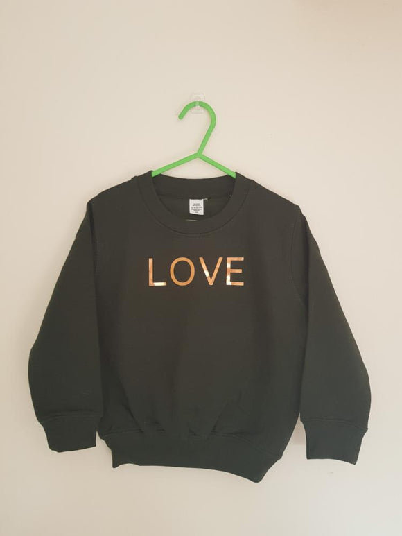 Childrens Love jumper - Dark green - AH Boutique