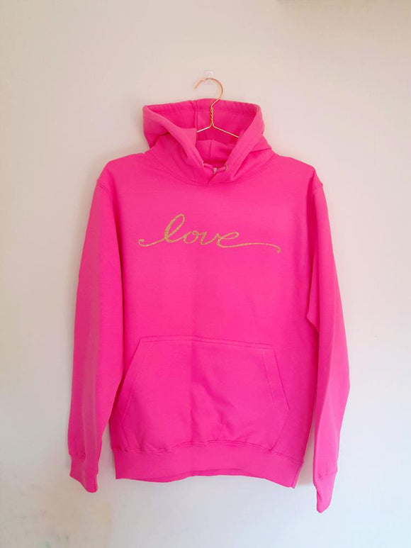 Pink love hoody jumper, lounge wear, comfy jumper