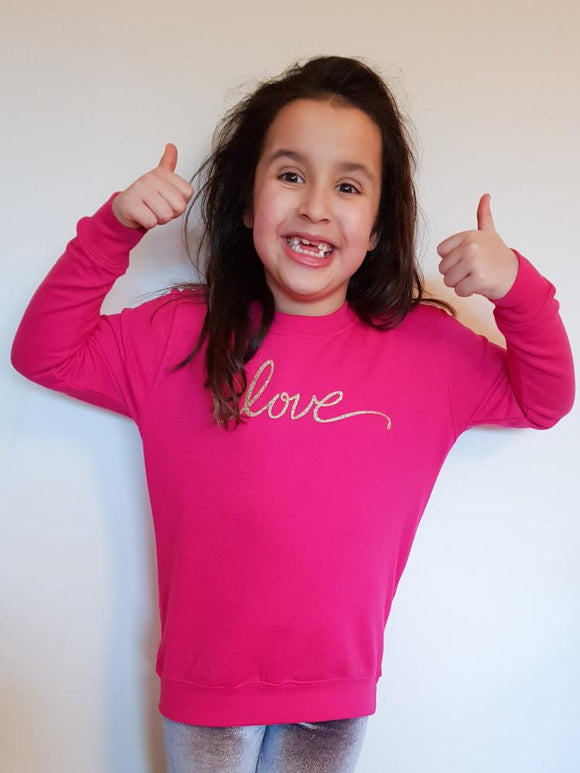 Childrens Love jumper - Bright Pink - AH Boutique