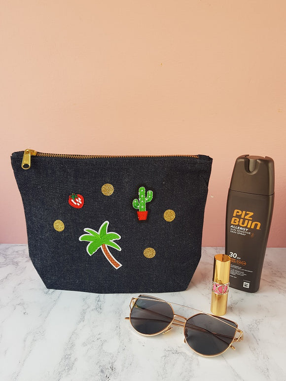 Denim make up bag with patches