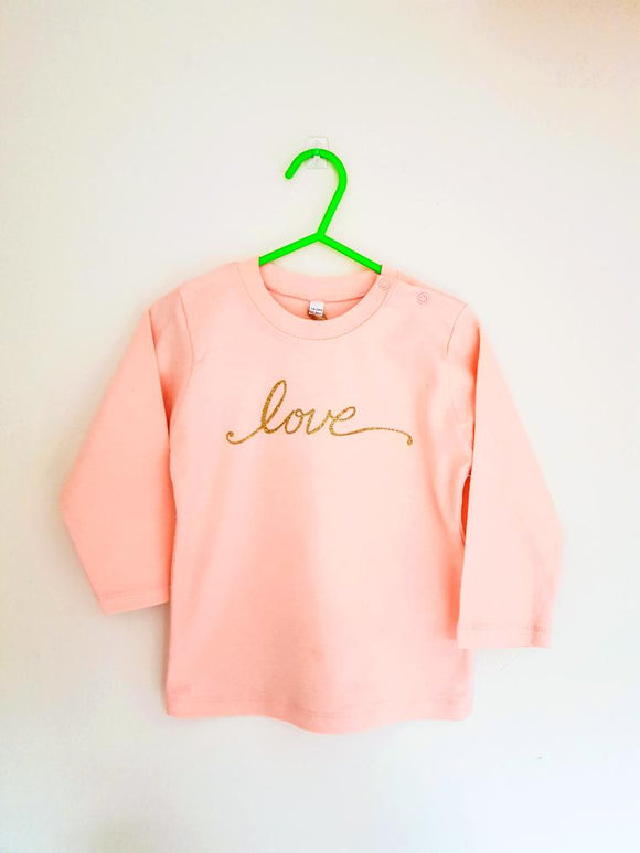 Baby Love long sleeve tee - pink - AH Boutique