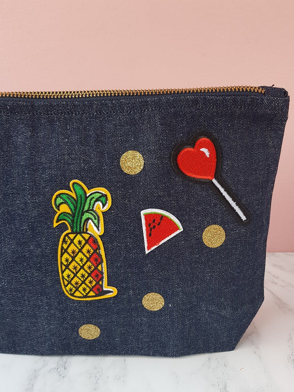 Denim make up bag with pineapple patch