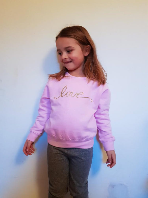 pink jumper,kids pink jumper,love jumper,kids slogan jumper