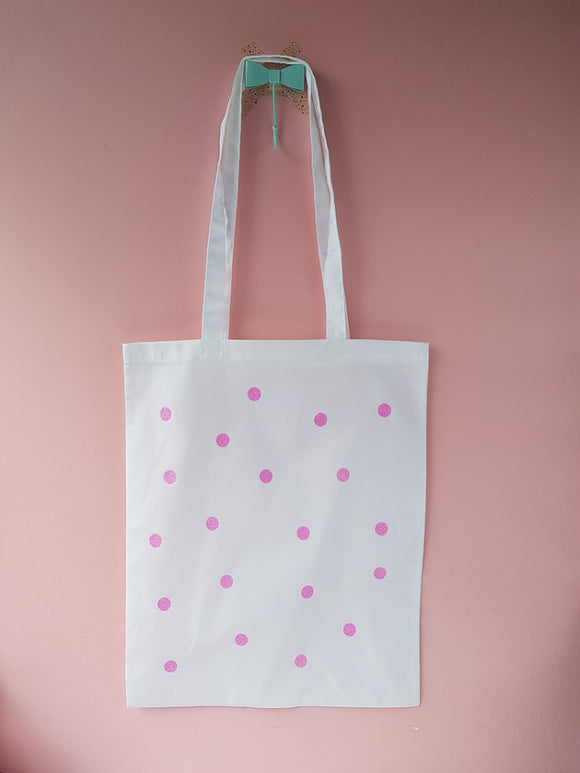 White tote with pink polka dot