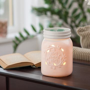 White Mason Jar Electric Wax Warmer, Wax Melter