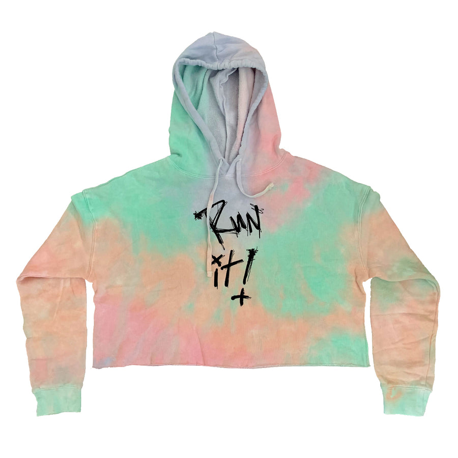 Womens Run It Tie Dye Crop Hoodie