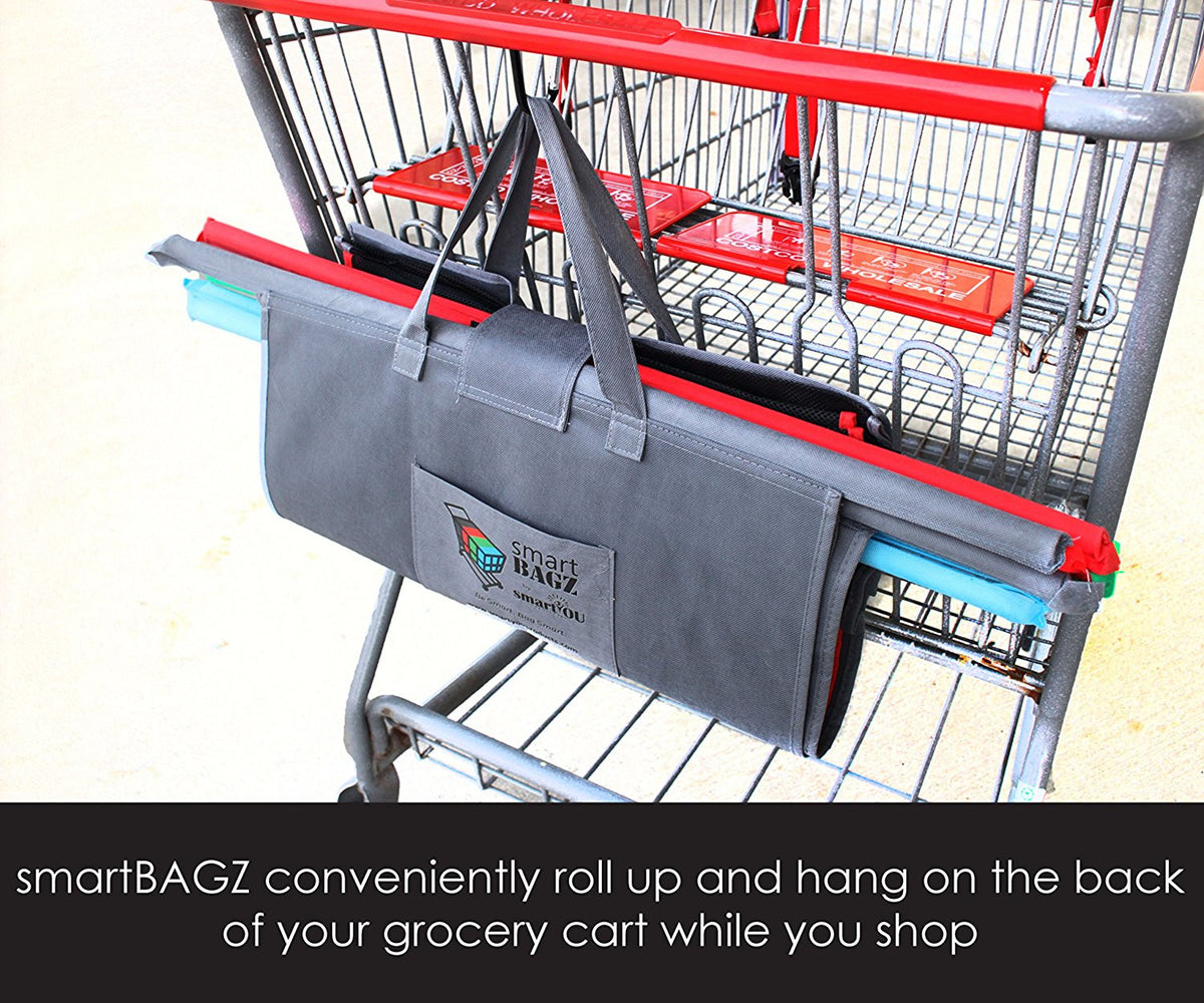 smartBAGZ Reusable Grocery Trolley Bags, Pack of 4 with Insulated Bag, Free Snap Link & Eco Tote