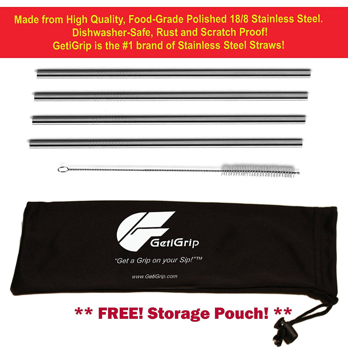 GetiGrip Extra Long Stainless Steel Straws, Set of 4 with FREE Storage Pouch and Cleaning Brush!