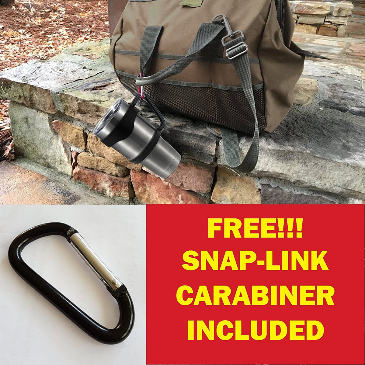 GetiGrip Anti-Slip Tumbler Handle + Free Carabiner for Ozark Trail, YETI, RTIC, & most 30oz Tumblers