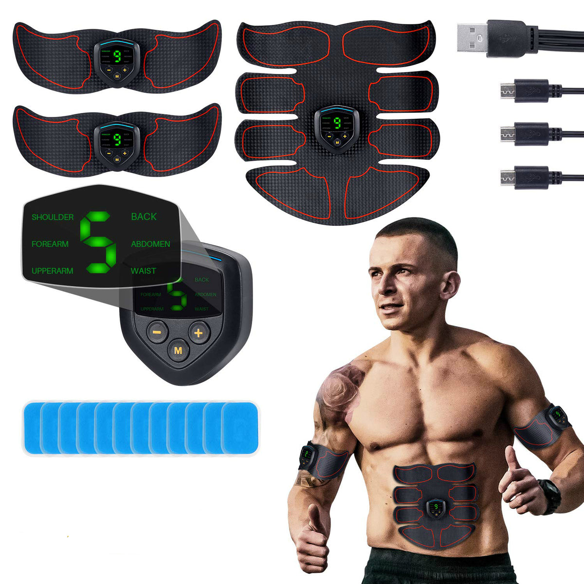 Ab Stimulator Muscle Toner Rechargeable Muscle Trainer Ultimate Abs Stimulator for Men Women Abdominal Work Out Ads Power Fitness Abs Muscle Training Gear ABS Workout Equipment Portable