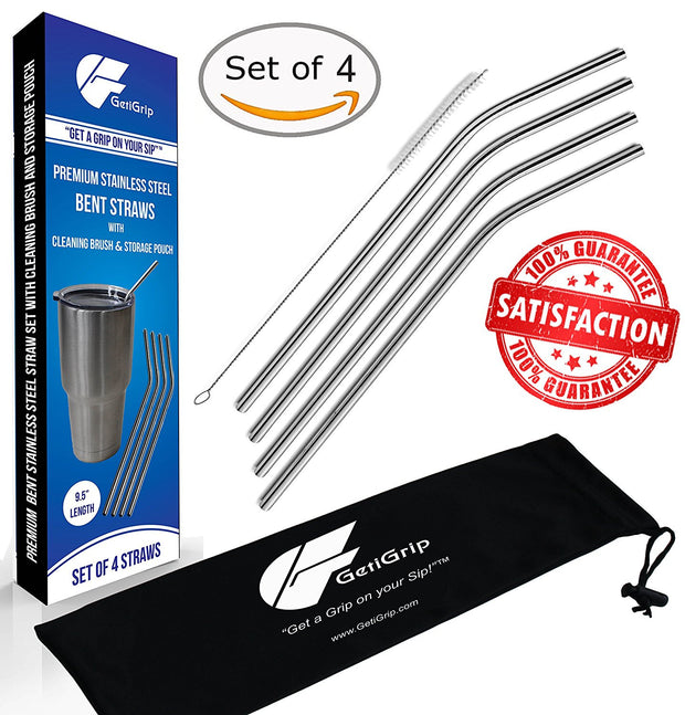 GetiGrip Extra Long Stainless Steel Straws, Set of 4 Bent + FREE Storage Pouch + Cleaning Brush!
