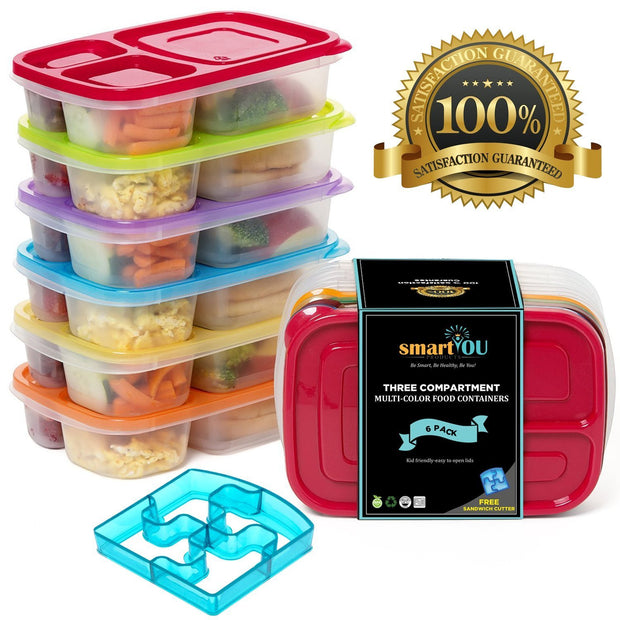 3-Compartment Multicolored Containers (6 Pack)