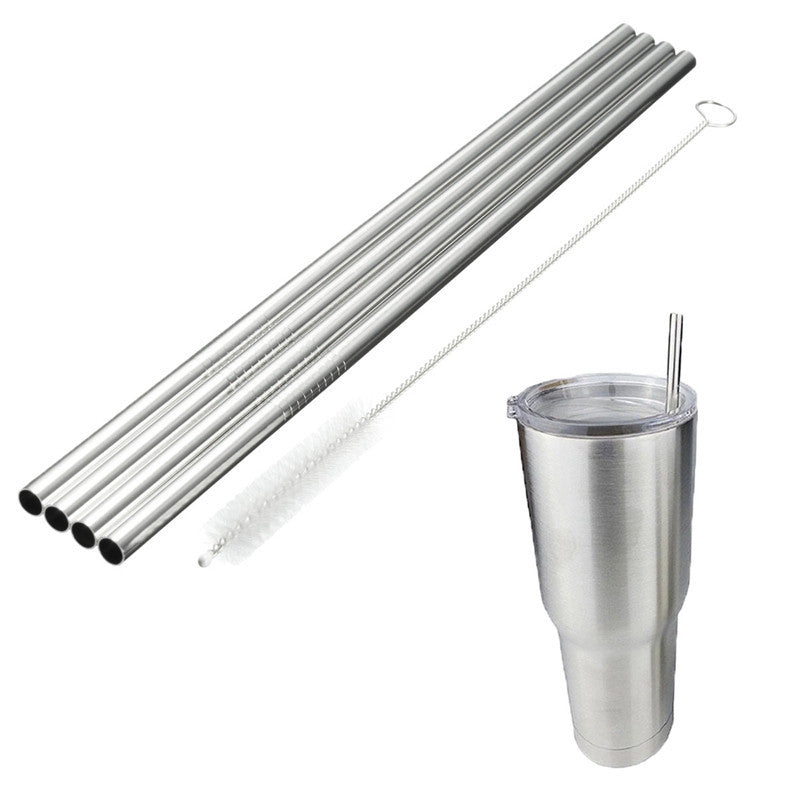 Stainless Steel Drinking Straws with Cleaning Brush For 20oz Yeti & other Tumblers