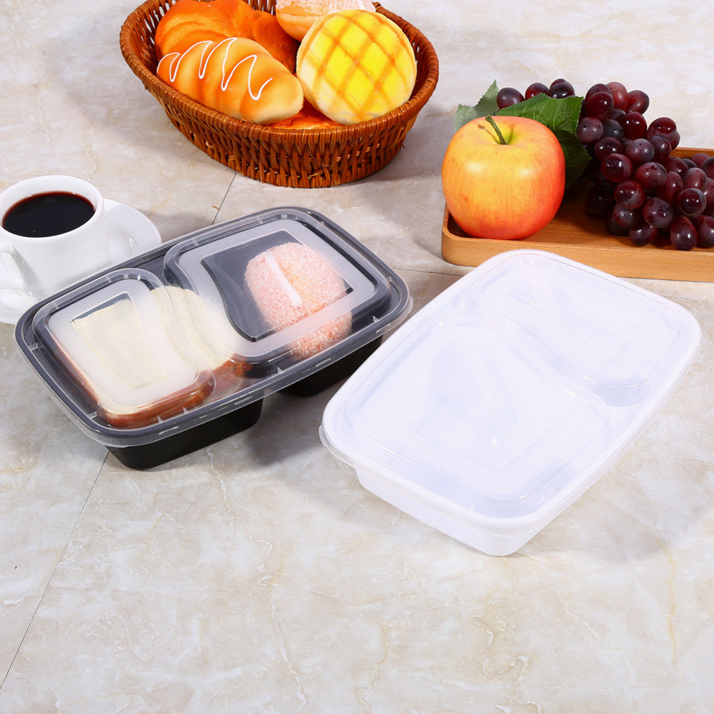 Ultra Light 10 Pack Plastic Microwavable 2 Compartments Meal Prep Containers