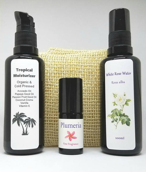 Tropical Floral Skincare Gift Set 100% organic all natural Plumeria Perfume, White Rose hydrosol, Tropical Moisturizer, Ayate Washcloth