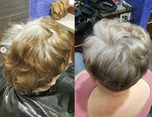 Growing out grey hair colour service