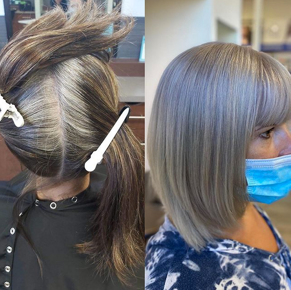 growing out grey hair with stylist help