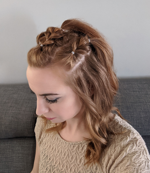 Pull through braid, half up style