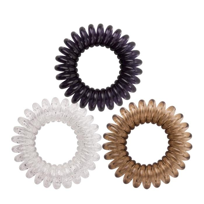 HOT RIGHT NOW! KB Collection Traceless Small Hair Ties - Plum, Blush & Clear Glitter
