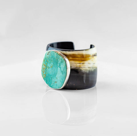 Horn/Turquoise Cuff